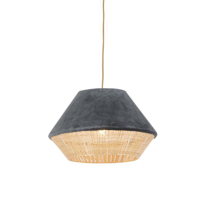 Landelijke-hanglamp-grijs-velours-met-riet-45-cm---Frills-Can