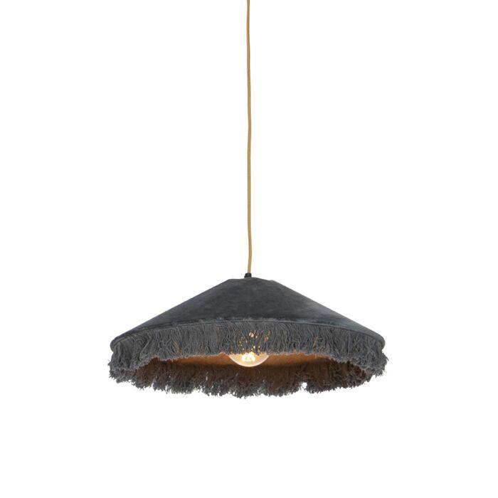 Retro-hanglamp-grijs-velours-met-franjes---Frills