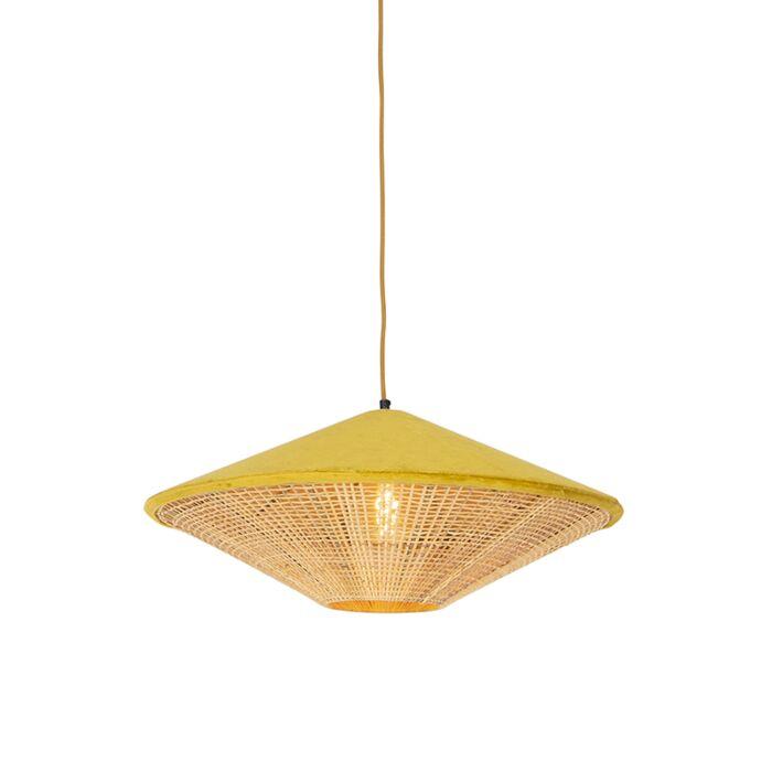 Landelijke-hanglamp-gele-velours-met-riet-60-cm---Frills-Can