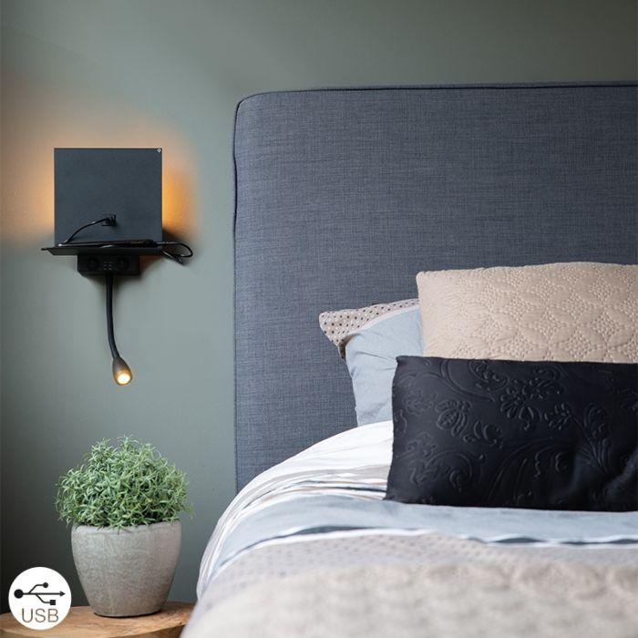 Moderne-wandlamp-zwart-met-USB-en-flexarm---Flero