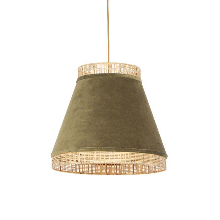 Landelijke-hanglamp-groene-velours-met-riet-45-cm---Frills-Can