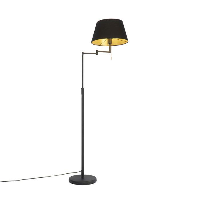 Moderne-vloerlamp-zwart-met-zwarte-kap-en-verstelbare-arm---Bear