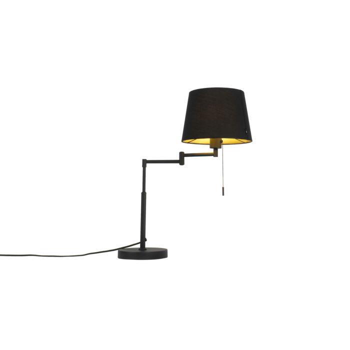 Moderne-tafellamp-zwart-met-zwarte-kap-en-verstelbare-arm---Landas