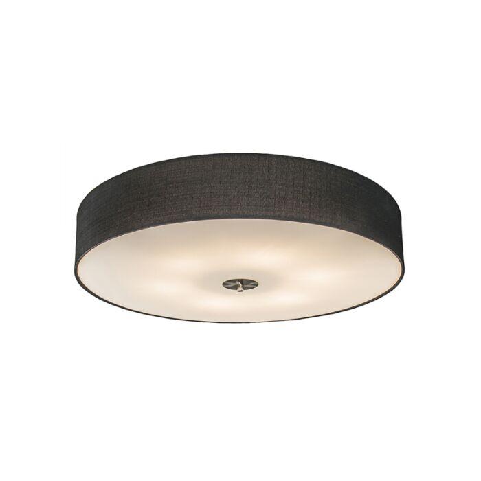 Landelijke-ronde-plafondlamp-zwart-70-cm-jute---Drum