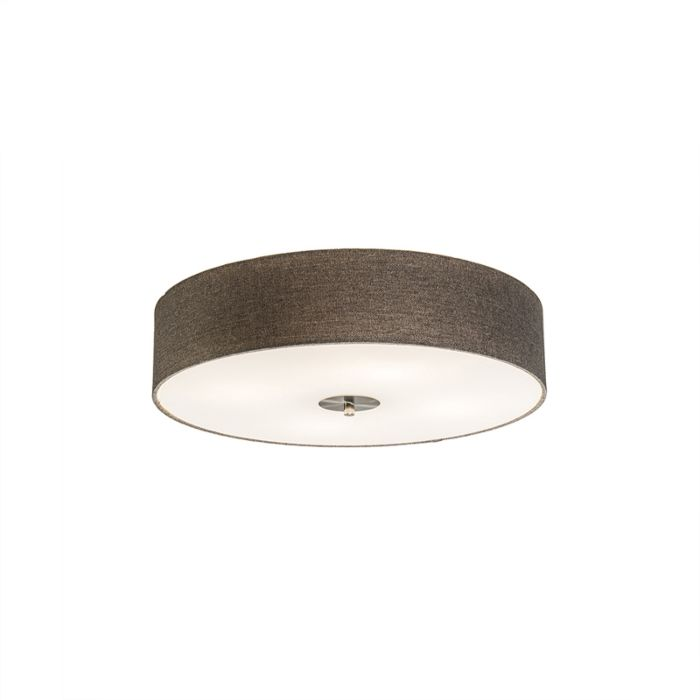 Landelijke-plafondlamp-taupe-50-cm---Drum-Jute