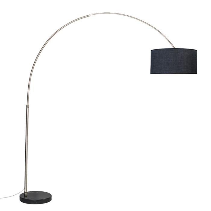 Booglamp-XXL-staal-kap-50cm-recht-zwart