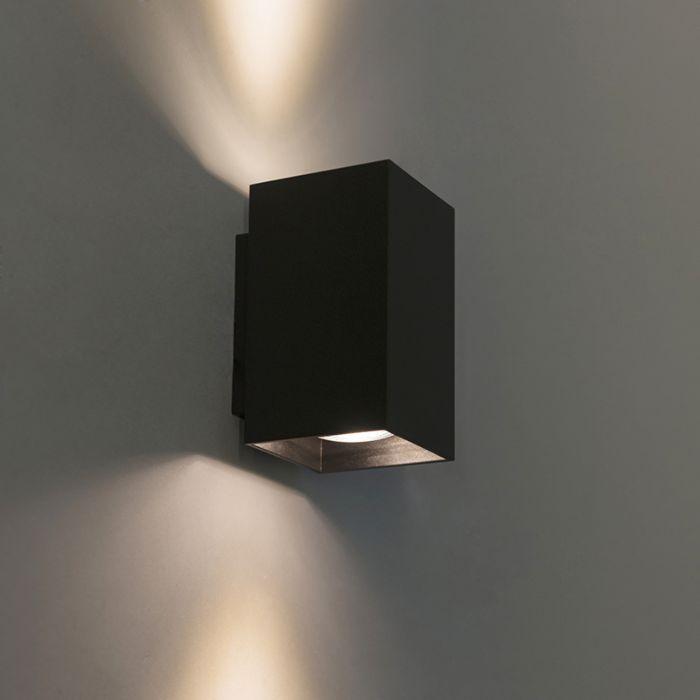 Moderne-wandlamp-vierkant-zwart---Sandy