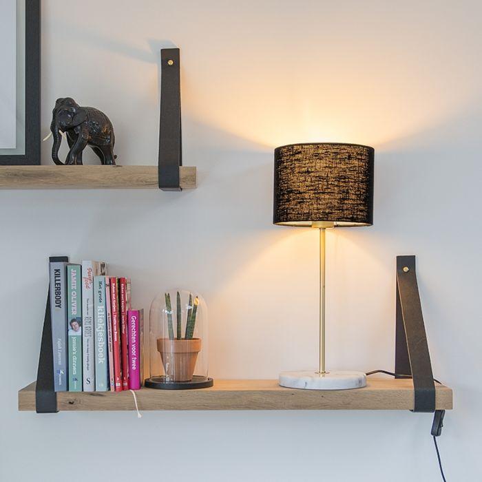 Tafellamp-messing-met-zwarte-kap-20-cm---Kaso