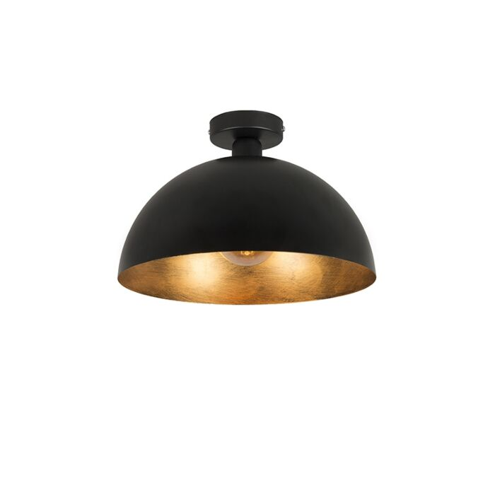Industriële-plafondlamp-zwart-met-goud-35-cm---Magna