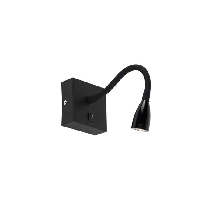 Moderne-flexibele-wandlamp-zwart-LED---Flex