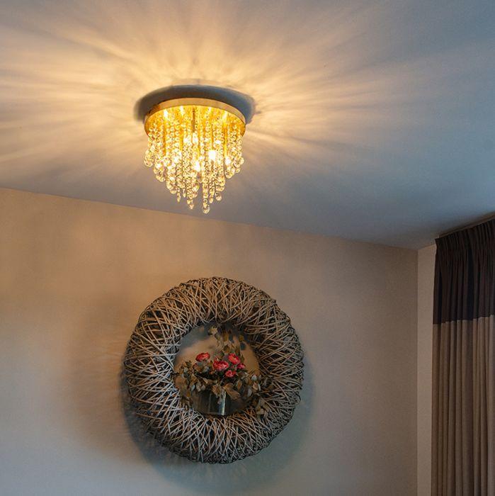 Klassieke-plafondlamp-goud/messing-35-cm---Medusa