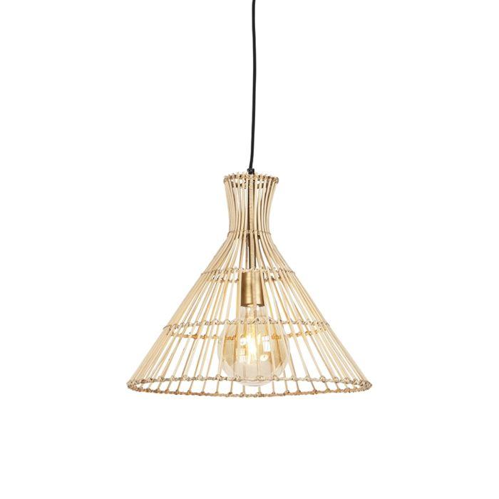 Landelijke-ronde-hanglamp-40cm-rotan-met-messing-details--Vida