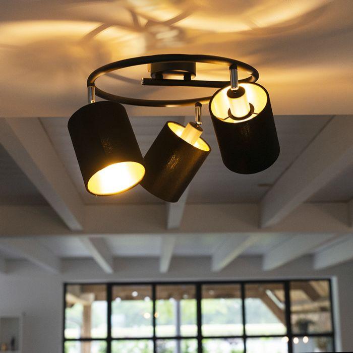 Moderne-plafondlamp-zwart-3-lichts---Lofty