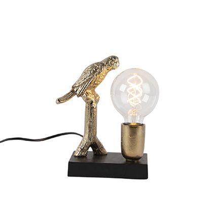 Art-Deco-tafellamp-zwart-met-goud-23-cm---Pajaro