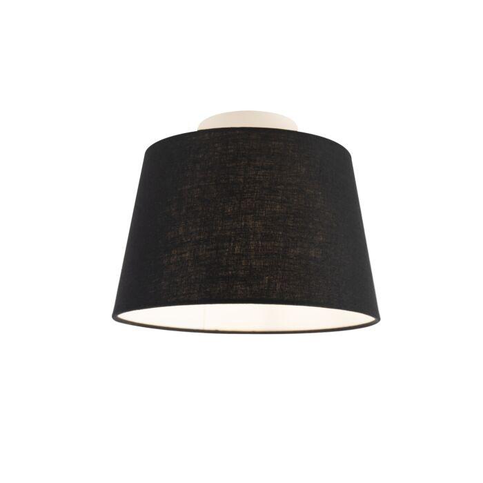 Plafondlamp-met-linnen-kap-zwart-25-cm---Combi-wit