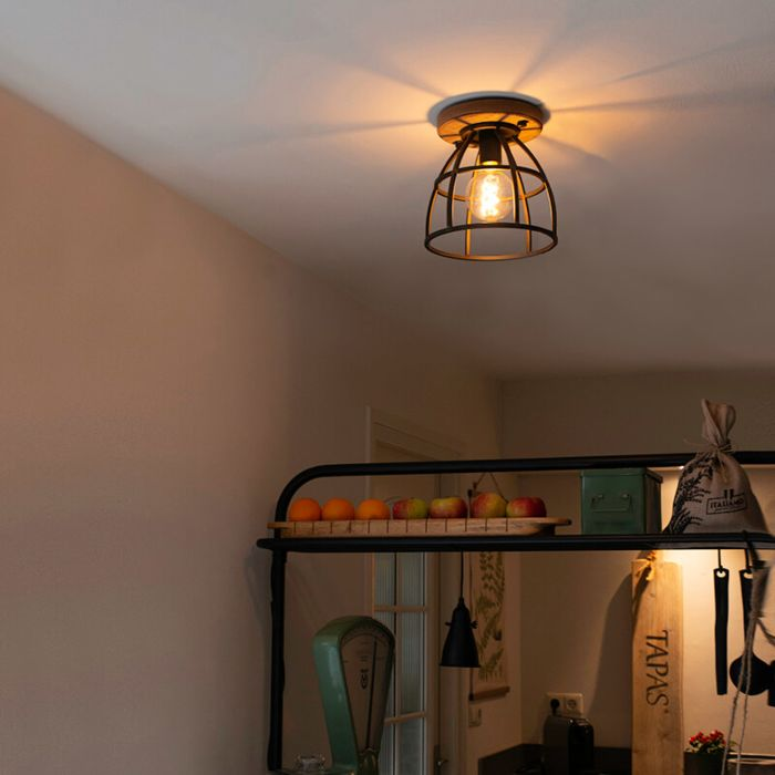 Industriële-plafondlamp-zwart-met-hout---Arthur